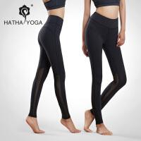 哈他惯性2017瑜伽服运动跑步裤弹力速干紧腿美体塑形网纱瑜珈长裤