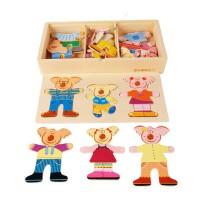 木玩世家儿童早教玩具 比好熊游戏换衣YT1054穿衣拼图动物