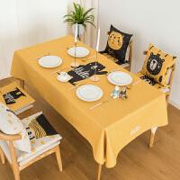 可爱卡通棉麻布艺桌布北欧茶几布小清新长方形餐桌布加厚圆桌台布