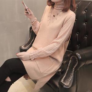 春秋韩版女士毛衣马甲蕾丝打底两件套中长款时尚套装百搭潮流女装