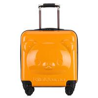 儿童行李箱可坐可骑20寸卡通拉杆箱孩18寸可爱旅行箱登机箱定 桔色 20寸小熊