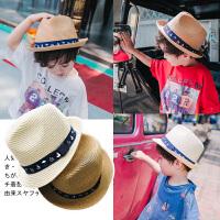 夏季男童帽子2018夏天新款儿童礼帽中小童金色圆顶休闲遮阳帽草帽