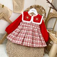 女宝宝小香风连衣裙冬装女童洋气红色公主裙