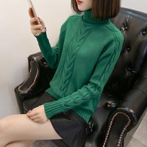 冬季新款韩版宽松高领毛衣女套头纯色百搭加厚保暖短款针织打底衫