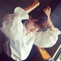 早春新品韩版宽松泡泡灯笼袖白色衬衫时尚气质大码长袖衬衣上衣女 白色优质版