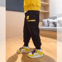 【2件2折】左西男童加绒裤子冬装2021新款儿童休闲裤不倒绒撞色童装秋冬