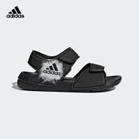 阿迪达斯(adidas)2018年新款童鞋男童沙滩鞋户外魔术粘儿童凉鞋BA9288 一号黑