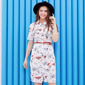 ZDORZI卓多姿夏装Polo领印花口袋腰带衬衫连衣裙732369