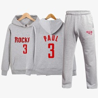 秋冬季加绒连帽卫衣男款套头衫青少年运动服套装篮球科比库里哈登球服两件套
