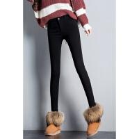 显瘦秋冬新款加绒加厚外穿打底裤女裤紧身铅笔小脚裤长裤黑色 黑加绒
