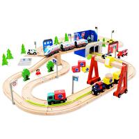 男孩宝宝益智托马斯小火车轨道车木质拼装 立体拼插积木兼容乐高积木玩具婴儿玩具 城市公铁轨道积木