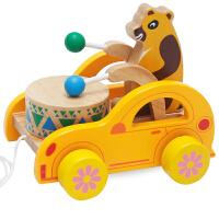 儿童拖拉线绳学步木制质玩具车 敲鼓敲敲打拖拉车