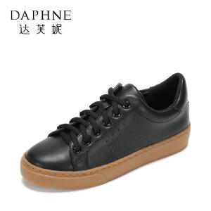 【9.20达芙妮超品2件2折】Daphne/达芙妮年秋季时尚时尚平底板鞋 简约系带休闲鞋女