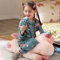 新款女童睡衣春秋季纯棉长袖公主中大童小女孩儿童家居服套装