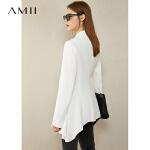 Amii极简设计感小众气质西装女秋季新款荷叶边时尚外套女白色西服