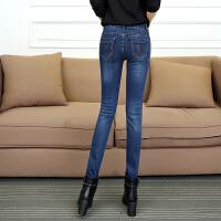 带绒牛仔裤女外穿打底裤加厚加绒高腰保暖裤外裤牛仔布小脚裤靴裤