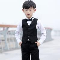 儿童西装男童花童礼服男西装马甲套装钢琴服主持人演出服夏 黑色马甲套装长款