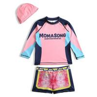 女童游泳衣中小童泳装泳衣女孩 新款儿童泳衣长袖分体短裤宝宝 彩虹长袖分体