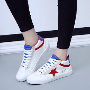 环球 秋季新款女韩版厚底高帮鞋星星系带休闲鞋