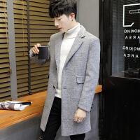 男士中长款风衣新款秋冬季韩版帅气毛呢大衣冬季薄款呢子外套