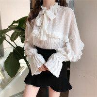 春装新款港味chic韩版纯色宽松显瘦长袖荷叶边喇叭袖雪纺衫女