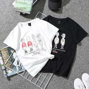 宽松短袖T恤情侣装上衣女2018新款夏装韩版宽松女装卡通短袖T恤百搭学院风衬衫