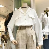韩国ulzzang2018春装新款简约百搭西装领衬衫女宽松长袖白色衬衣