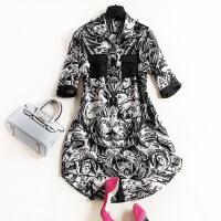 2017欧洲站春装新款女装衬衣中长款修身显瘦黑白抽象真丝衬衫6346 花色