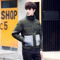 冬季新款韩版男士迷彩羽绒服 男短款修身外套加厚立领潮男 军绿色 M