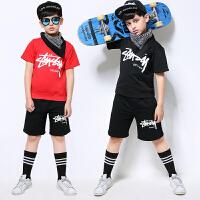 爵士舞舞表演服男童套装啦啦操短袖夏新款儿童嘻哈街舞演出服