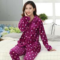 中老年睡衣女冬珊瑚绒加厚中年妈妈法兰绒加绒韩版休闲家居服套装