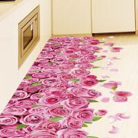 3D立体墙贴地板贴画纸卧室走廊装饰品房间自粘墙纸粉色玫瑰花地贴 3D粉色玫瑰花 特大