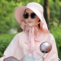 帽子女户外运动大檐骑车防晒遮阳凉帽披肩护袖护颈太阳帽