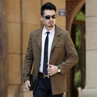 秋季新款中年男士纯色风衣中长款翻领商务休闲男装外套