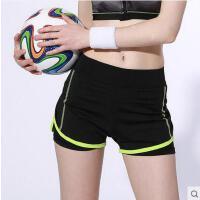 双层防走光舞蹈短裤女士瑜伽裤跑步健身短裤假两件速干运动短裤