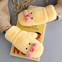 手套女圣诞节礼物冬天可爱韩版学生卡通连指挂脖冬季保暖防寒加绒加厚棉毛绒送女友 均码