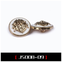 手缝英伦双狮圆形百搭金属大衣毛衣西装男女风衣服纽扣扣子 JS008-09 金色+白6颗
