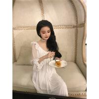 宫廷睡裙女春夏复古蕾丝花边低V领家居服公主风性感长袖睡衣 白色