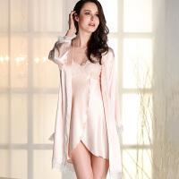 吊带睡衣女夏家居服套装长袖蕾丝带胸垫开叉丝质睡衣XC