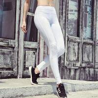 健身长裤运动瑜珈裤女弹力紧身小脚裤秋冬款高腰瑜伽裤压褶跑步裤