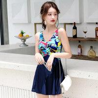 游泳衣女韩国ins风 新款连体裙式遮肚保守性感显瘦大码泳装