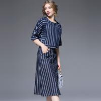 欧洲站春装新品经典竖条纹撞色两件套连衣裙休闲牛仔裙C3 蓝色