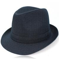 春夏秋季中老年男士礼帽西服布料卷边爵士帽中年绅士帽短檐礼帽男
