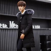 冬季新款棉衣男中长款修身加厚外套男连帽大毛领羽绒棉服韩版潮流