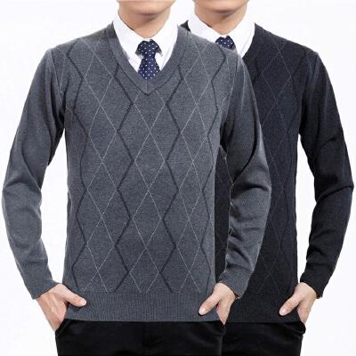毛衫男中年加厚针织衫爸爸装中老年人男士毛衣鸡心v领线衣冬季 发货周期:一般在付款后2-90天左右发货,具体发货时间请以与客服协商的时间为准