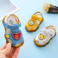男宝宝凉鞋1-3岁2019婴童夏季童趣彩灯款软底防滑学步婴幼儿凉鞋
