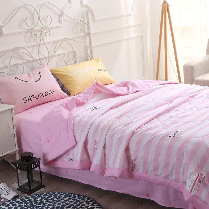 家纺精梳全棉印花夏被床单四件套 超柔绗缝纯棉夏凉被子空调被套件Y