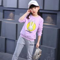 儿童运动服装 2017新款女童春装套装时尚三四五六七八九十岁小女孩 紫 色