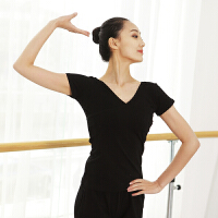 前交叉 舞蹈上衣 舞蹈练功服 V领 女 棉短袖舞蹈服 显瘦弹力