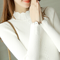 【爆款亏本卖】套头毛衣女秋冬新款内搭长袖针织衫短款半高领荷叶袖修身打底衫